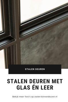 Stijlvolle combinatie van stalen deuren met zowel glazen als lederen panelen. Uniek, luxe en glamoureus. #stalendeuren #leer