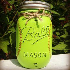 Choose 1 Mason Jar Piggy Bank Baseball by MidnightOwlCandleCo