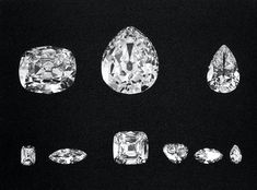 Cullinan Diamonds I-IX (by Unknown Artist) - A 1908 photograph of the nine largest stones cut from the Cullinan Diamond which was discovered in Transvaal, South Africa in 1905. The stones are each named Cullinan I to IX after the owner of the mine in which it was found. Cullinan I is now set in the Sovereign Sceptre and Cullinan II is set i...