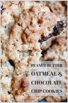 Peanut Butter, Oatmeal & Choc Chip Cookies - The Vegan Honey Pot Peanut Butter Oatmeal, Oatmeal Chocolate Chip Cookies, Oaty Biscuits, Honeypot, Tasty, Yummy Food, Cookies Ingredients, Vegan Butter, Tray Bakes