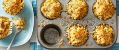 These muffin-tin mac and cheese cups work equally well on a buffet or in a lunch box!