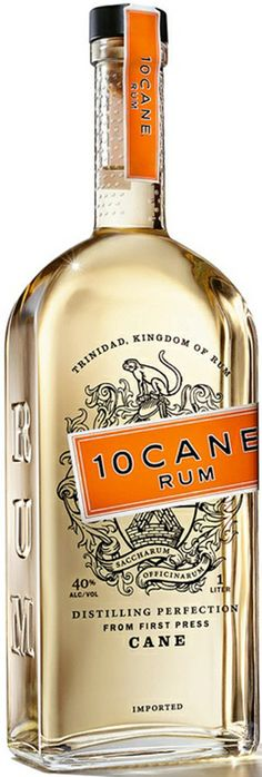10 Cane Rum - Aged in French oak barrels for six months, 10 Cane is light gold in colour with aromas of pear and vanilla. The finish is extraordinarily long, with notes of sugar cane and oak. Let it stimulate you in our house Mai Tai. Alcohol Bottles, Liquor Bottles, Rum Alcohol, Whisky, Liquor List, Rum Bottle, Bottle Packaging, In Vino Veritas, Wine And Spirits