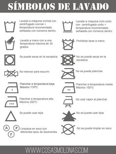 """Imprimibles gratis: """"Chuleta"""" de los símbolos de lavado"""