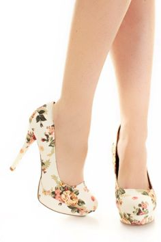 White Multi Fabric Floral Printed Platform Heels / Sexy Clubwear | Party Dresses | Sexy Shoes | Womens Shoes and Clothing | AMI CLubwear