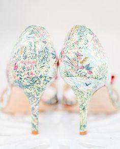 Colorful floral pattern wedding heels