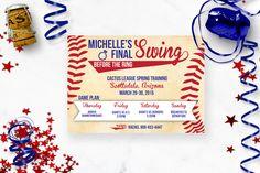 Classic Baseball Bachelorette Party Invitation   Rich Design Co