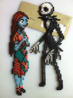 Jack Sally The Nightmare Before Christmas Perler Bead by SDKD- pretty cool but I can't picture our darlings doing this!
