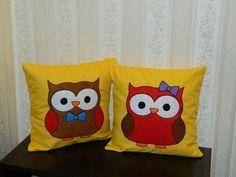 Handmade pillows-owls