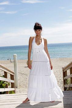 YACHT CLUB Organic Cotton Crochet Nautical Maxi Halter Dress #Handmade #EmpireWaistMaxi #Nautical