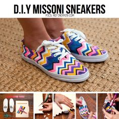 These amazing sharpie colored shoes. Supplies: 1. Plain shoes 2. Scissors  3. Markers 4. Piece of paper or cardboard  Directions: Take your paper and cut out zig zag. Before you draw the outline of chevron take laces out then draw the outline of chevron. After your done outlining its finally the fun part. COLORING!! Just have fun and be creative with it! After your done coloring put the laces back on and there you go, Your own DIY shoe.