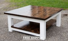Square Coffee Table (Free Shipping!) | Solid Wood Farmhouse Coffee Table | Rustic Coffee Table | Built to Order