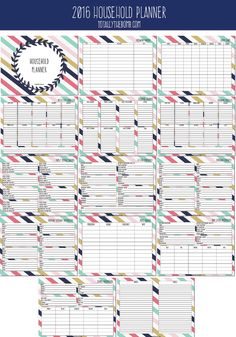 2016 Free Printable Household Planner