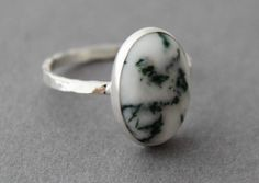 Chunky Sterling and Tree Agate Ring by tladesigns on Etsy, $43.00