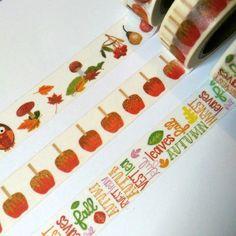 Autumn/Fall Owls, Caramel Apples, Pumpkins, & Leaves Washi Tape Sample