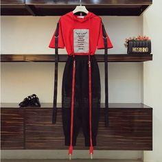 2018 New Fashion Summer Women& Ribbon Hooded T-shirt + Double Zipper Lantern Pants Two-piece Student Girls Casual Pants Suit Kpop Outfits, Korean Outfits, Trendy Outfits, Fashion Outfits, Womens Fashion, Fasion, Women's Summer Fashion, Asian Fashion, Look Fashion