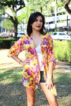 Purple & Yellow Floral Kimono, Kimono Cardigan, Kimono Robe, Kimono Jacket / Sheer Cover Up - One Size This purple & yellow kimono cardigan is perfect
