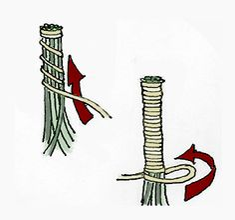 Winding Raffia Around Pine Needle Bundle