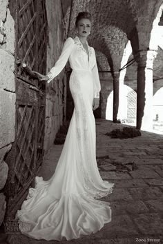 zoog studio bridal 2014 long sleeve wedding dress train