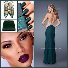 La Femme 20896 ~ gorgeous ~ long prom dress ~ valentino ~ rockstud heel ~ prom 2015 ~ plum lip ~ green dress ~ open back ~ halter dress ~ lace dress ~ dress with cut outs ~ pageant style ~