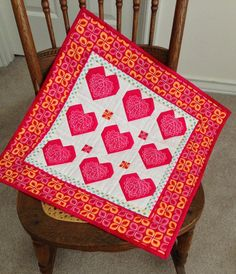 Hearts Wall Hanging by backporchquilts on Etsy, $55.00
