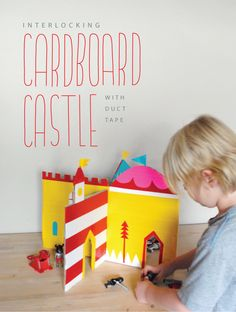 Interlocking cardboard castle with colored duct tape! The duct tape keeps it super durable, and it can store flat. Or you could use scrap paper if you don't want to buy lots of duct tape. Kids Crafts, Craft Activities For Kids, Projects For Kids, Craft Projects, Cardboard Castle, Cardboard Crafts, Paper Crafts, Cardboard Play, Diy With Kids