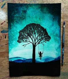 43 Easy Acrylic Canvas Painting Ideas For Beginners - Buzz Hippy Beautiful Drawings, Cool Drawings, Beautiful Pictures, Painting Inspiration, Art Inspo, Galaxy Painting, Watercolor Galaxy, Painting & Drawing, Swing Painting