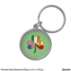 Vietnam Unity Shamrock Flag on a key chain, for Vietnamese who want to cover all their heritages and honor all their cultures. Shows flags of USA and Ireland. One leaf of the shamrock is half the current flag of Vietnam and half the flag of the Republic of South Vietnam.