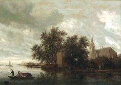 Salomon van Ruysdael - Riviergezicht met kerk (1644)