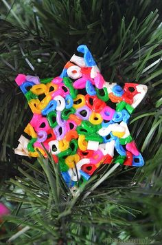"""Then I stumbled across this gorgeous Danish blog, <a href=""""http://www.wooz.dk/?p=4522"""" target=""""_blank"""">wooz.dk,</a>  hit translate and decided we had to try making fusible bead Christmas decorations for ourselves!"""