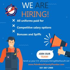We are hiring! We are looking for some awesome service technicians, construction plumbers, and helpers to add to the team. If you think this is you, or is someone you may know send us an email! Palm Beach County, West Palm Beach, Plumbing Drains, Help Wanted, We Are Hiring, Join Our Team, Job Posting, Flyers, All Star