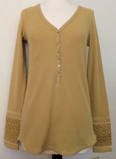 Lucky Brand W's S Long Sleeve Henley, V-Neck Mustard Color $68 NWT  #LuckyBrand #LongSleeveHenley