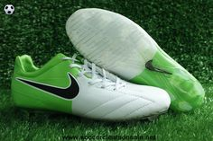 Authentic Nike Total90 Laser IV FG White-ElectrGreen-Black Soccer Shoes On Sale