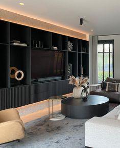 Design Studio, House Design, Interior Design Living Room, Living Room Decor, Zen Interiors, Happy New Home, Tv Wall Design, Interior Exterior, Villa