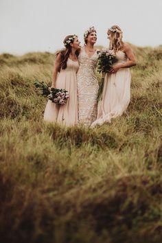 bohemian bride with her boho maids