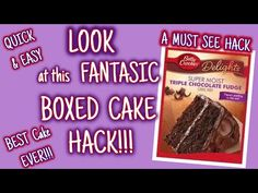 LOOK at this FANTASTIC BOXED CAKE HACK | BEST CAKE EVER!!!! | QUICK & EASY | MUST SEE HACK!!! - YouTube Cake Mix Recipes, Baking Recipes, Snack Recipes, Dessert Recipes, Doctor Cake, Box Cake Mix, Cake Mixes, Best Cake Ever, Cake Hacks