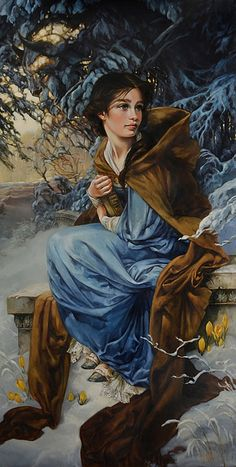 """""""Love Blooms in Winter"""" Beauty and the Beast - Heather Theurer, oil on canvas [contemporary art beautiful Disney character seated young woman painting} heathertheurer.com"""