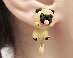 Cute Fat Pet Pug Dog Necklace Polymer Clay Pendant by cbexpress