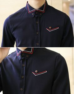 Europe Catwalk Pure Color Buttons Men Fitted Shirts
