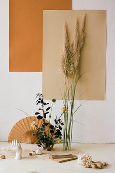Art Direction & Still Life with Camel colour for MLLM @mllm_daily / Beautiful photo by Alba Yruela and Art direction & Style by Nia Delfau Floral design by Estudio Sauvage