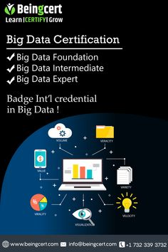 Make a stellar career in the Big Data arena by enrolling to Beingcert certification today! Big Data, Certificate, Career, Learning, How To Make, Carrera, Studying, Teaching, Onderwijs
