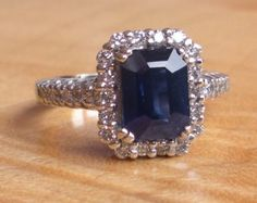2.06ct Sapphire and Diamond Engagement Ring 14k White Gold - Halo Ring - Cluster Ring