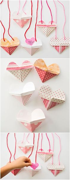 Origami Heart Pocket Necklaces with Video. Make these cute origami heart envelopes with kids and watch the video to see how easy! Add a secret message inside or treat for Valentine favors.