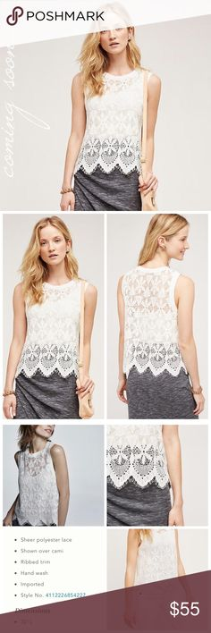 Scalloped Lace Sleeveless Shell Stunning and simple lace shell with scalloped edges. From Deletta for Anthropologie. New with tags, in original packaging. Not a fan of the price? Make an offer! 🎉 Anthropologie Tops