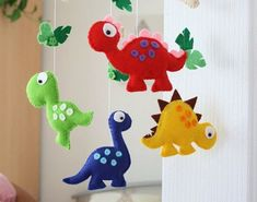 Nursery mobile - Baby mobile - Dinosaur Mobile - Primary Colours - MADE TO ORDER - Etsy listing. I think this would be easy to make and there are other styles for ideas too. Die Dinos Baby, Baby Dinosaurs, Felt Crafts, Fabric Crafts, Diy And Crafts, Diy Bebe, Baby Mobile, Dinosaur Nursery, Dinosaur Birthday Party
