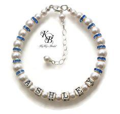 Personalized Flowergirl Bracelet, Birthstone Bracelet, Flowergirl Gift, Flowergirl Jewelry, Little Girl Bracelet, Personalized Gift | KyKy's Bridal, Handmade Bridal Jewelry, Wedding Jewelry