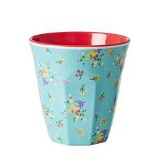 Rice Medium Melamine Cup Two Tone With Aqua Mini Flower Print - Fig. 1