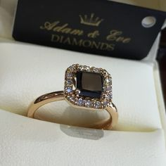 18k Pink Gold Engagement Ring with a Central Princess Cut Black Diamond 1.45ct and Brilliant Cut Diamonds Entourage 0.19ct - Adam & Eve Diamonds - 2.853 $ Adam And Eve, Entourage, Gold Engagement Rings, Princess Cut, Black Diamond, Pink And Gold, Heart Ring, Sapphire, Wedding