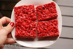 Another reason for red velvet crispies... looks like raw meat for Halloween! Perfect for Walking Dead!!