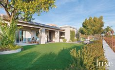 Contemporary Front Exterior with Outdoor Seating