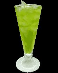 The Green Dolphin    Mix rum, curacao, midori and pineapple juice.  Add cream and oj to fill.  Shake and pour over ice.